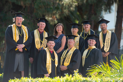 The first graduating classes of students from Cal State LA's Prison Graduation Initiative will walk the Commencement stage on July 28. Back row from left: Daniel Whitlow; Duncan Martinez; Taffany Lim, executive director for the Center for Engagement, Service, and the Public Good; Tin Nguyen; Charlie Praphatananda and Allen Burnett. Front row from left: Clifton Gibson, Bradley Arrowood and Jeff Stein. (Credit: Robert Huskey/Cal State LA)