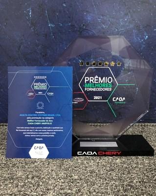 Axalta was recently awarded the Best Supplier Award by CAOA Chery in Brazil. (PRNewsfoto/Axalta Coating Systems Ltd.)