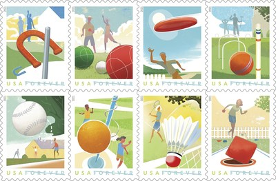 As temperatures continue rising across the country, with these 16 Forever stamps, the U.S. Postal Service celebrates the variety of games Americans play to relax and enjoy the sunshine for outdoor recreation.