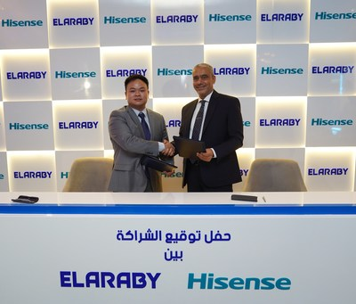 (L) Mr Jason Ou, MD, Hisense Middle East & North Africa and (R) Eng. Mohamed Mahmoud Elaraby, CEO of Elaraby Group (PRNewsfoto/Hisense)