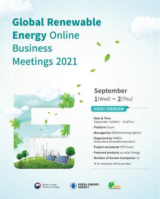 Korea Energy Agency to hold 'Global Renewable Energy Online Business Meetings 2021'