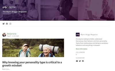 Interested in personality type? Check out the new Myers-Briggs Magazine on Medium.com. With articles from MBTI type experts, psychologists and researchers, the new online publication is for anyone to better themselves through personal and professional development. https://medium.com/myers-briggs-magazine