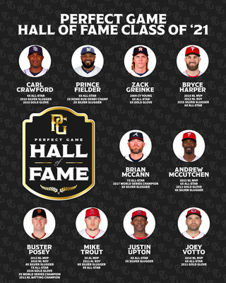 Active Major League Baseball players Zack Greinke, Bryce Harper, Andrew McCutchen, Buster Posey, Mike Trout, Justin Upton and Joey Votto join former big league stars Carl Crawford, Prince Fielder and Brian McCann in the inaugural 10-member class of the Perfect Game Hall of Fame.