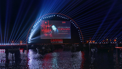 The global premiere of Campari Red Diaries 2021: Fellini Forward at the Campari Boat-in Cinema during the 78th Venice International Film Festival- La Biennale di Venezia, a project set to explore the creative genius of Federico Fellini using Artificial Intelligence. (PRNewsfoto/Campari)