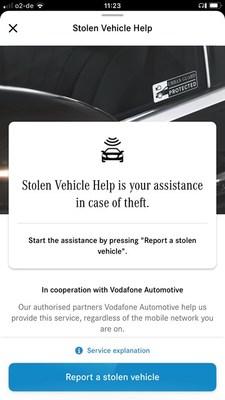 Mercedes Stolen Vehicle Help Screenshot (English)