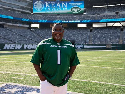Kean University President Lamont O. Repollet, Ed.D., on the field at MetLife Stadium, has announced a partnership with the New York Jets that will create academic and career opportunities for Kean students. (Photo Credit: Kean University)