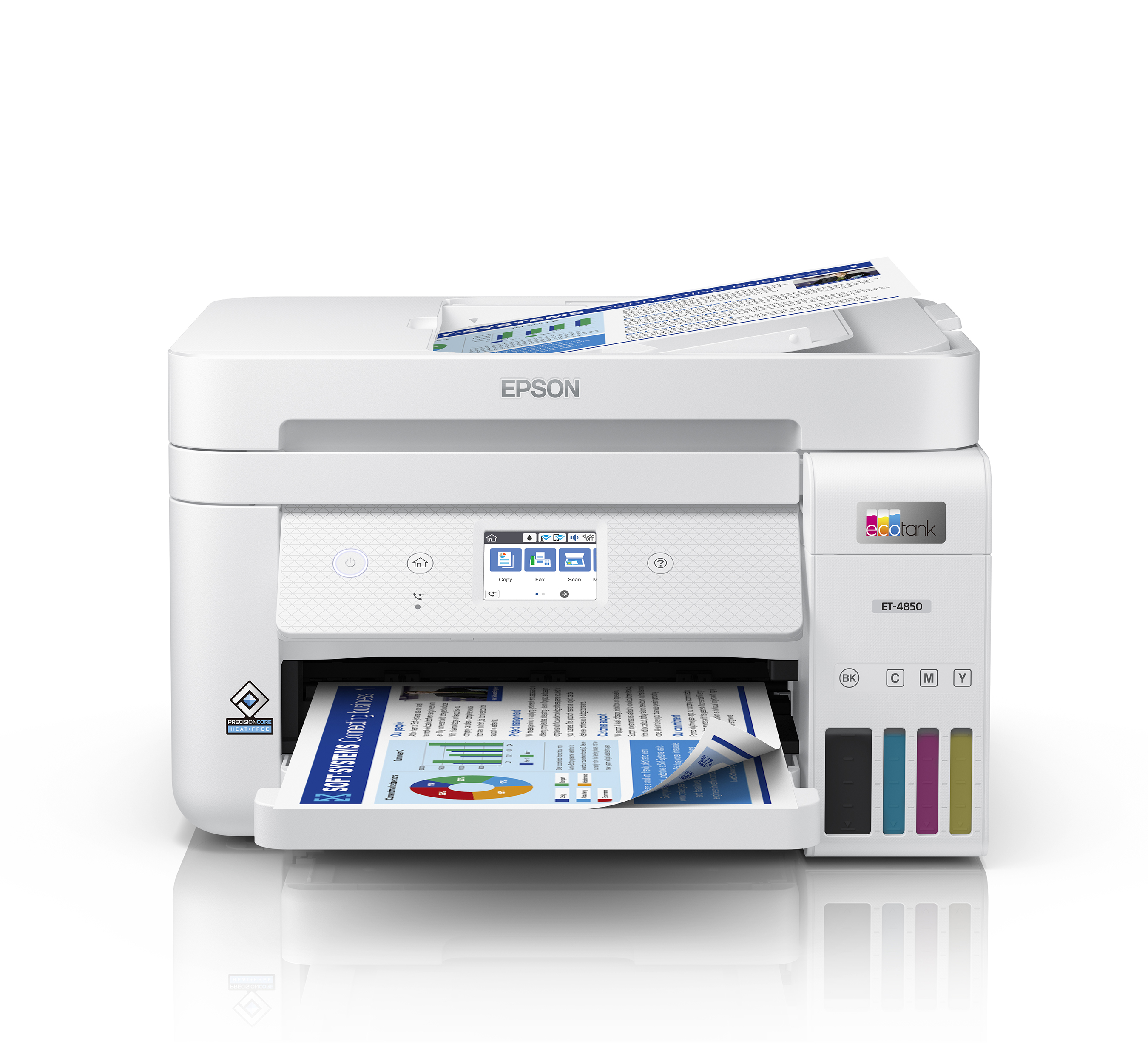 """The EcoTank ET-4850 offers premium productivity features - fax, productive paper handling, a high-resolution flatbed scanner, and a convenient 2.4"""" color touchscreen, making it the best option for office printing."""