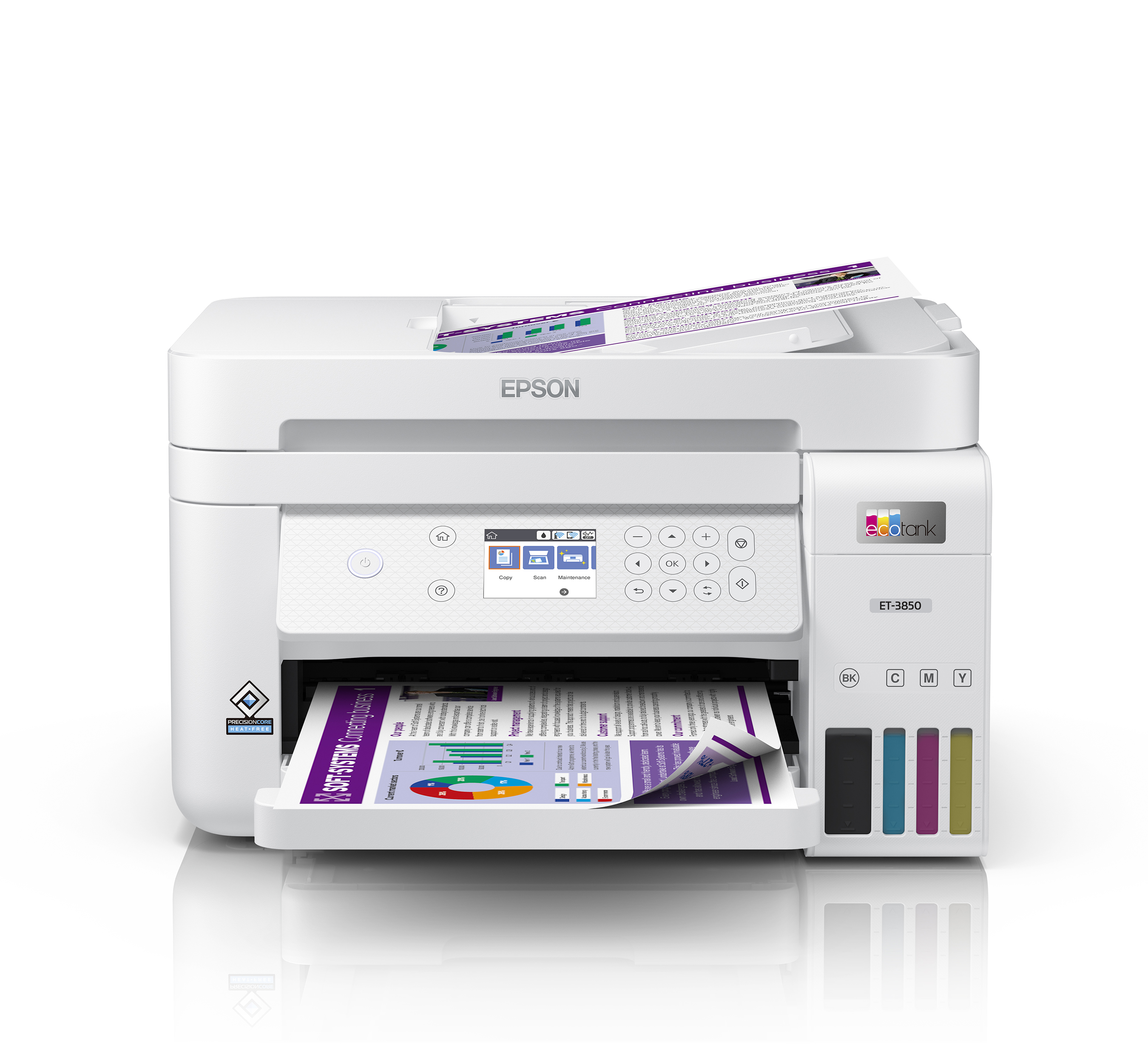 The EcoTank ET-3850 features an ADF and fast printing with outstanding print quality, productive paper handling, a high-resolution flatbed scanner, and a large color display, making it an ideal printing solution for the home office.