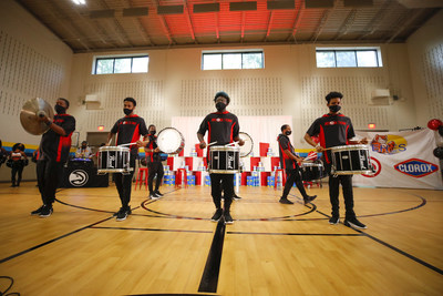 The Atlanta Hawks' drumline, ATL Boom, performs for students and faculty of Emma Hutchinson Elementary School in Atlanta, Ga. as part of the Clorox brand's surprise pep rally to announce its $1,000,000 donation to DonorsChoose along with $100,000 and a year's supply of wipes to Atlanta Public Schools on Wednesday, Sept. 8, 2021.